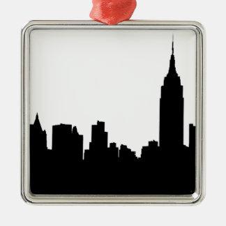 NYC Skyline Silhouette, Empire State Bldg #1 Metal Ornament