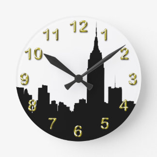 NYC Skyline Silhouette, Empire State Bldg #1 Round Wall Clocks