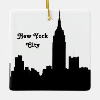 NYC Skyline Silhouette, Empire State Bldg #1 T Ceramic Ornament