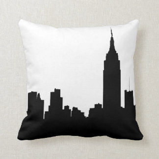 NYC Skyline Silhouette, Empire State Bldg #1 Throw Pillow
