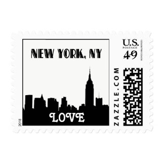 NYC Skyline Silhouette Empire State Bldg LOVE smal Postage