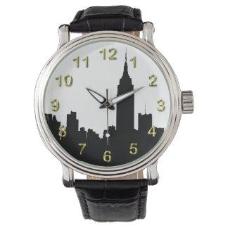 NYC Skyline Silhouette, Empire State Bldg Wrist Watches