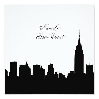 NYC Skyline Silhouette, ESB #1 BW SQ2 Party Invite