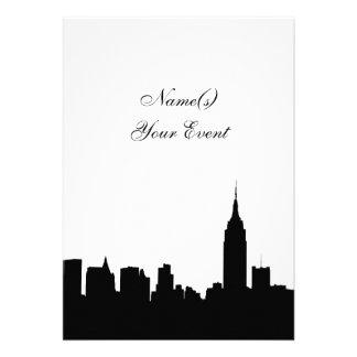 NYC Skyline Silhouette, ESB #1 BW V2 Party Invite