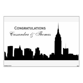 NYC Skyline Silhouette, ESB #1 Party Banner Wall Sticker