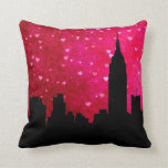 NYC Skyline Silhouette, ESB #1 Pink Red Heart Throw Pillow