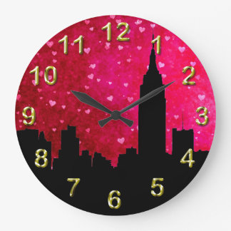 NYC Skyline Silhouette, ESB #1 Pink Red Hearts Wall Clocks