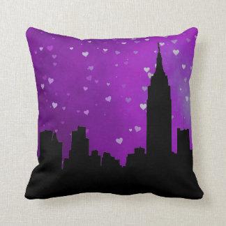 NYC Skyline Silhouette, ESB #1 Purple Heart Throw Pillows