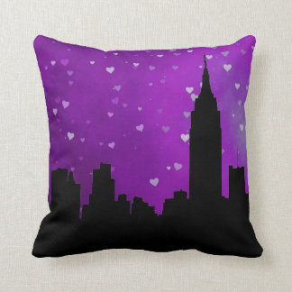 NYC Skyline Silhouette, ESB #1 Purple Heart Throw Pillow