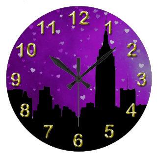 NYC Skyline Silhouette, ESB #1 Purple Hearts Clocks