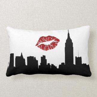 NYC Skyline Silhouette, ESB #1 Red Lipstick Kiss Lumbar Pillow