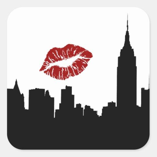NYC Skyline Silhouette, ESB #1 Red Lipstick Kiss Square Stickers