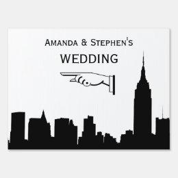 NYC Skyline Silhouette, ESB #1 Wedding Sign Medium