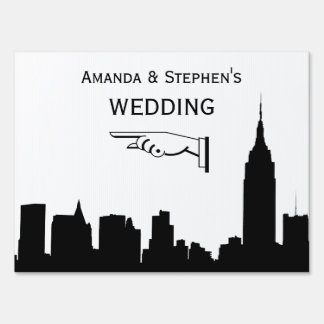 NYC Skyline Silhouette, ESB #1 Wedding Sign Medium