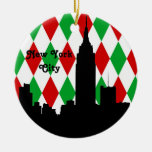 NYC Skyline Silhouette ESB Red Grn Harlequin Xmas Double-Sided Ceramic Round Christmas Ornament