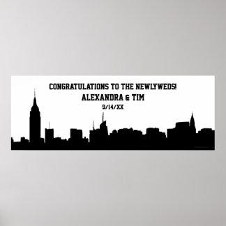 NYC Skyline Silhouette Graduation Wedding Banner Print