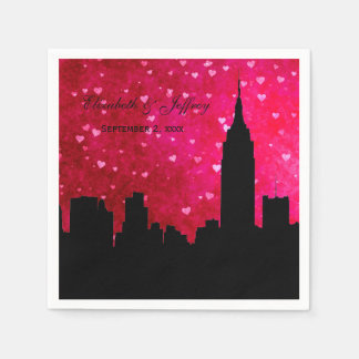 NYC Skyline Silhouette Hot Pink Red Heart Paper Napkins