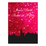 """NYC Skyline Silhouette Hot Pink Red Hrt Sweet 16 V 5"""" X 7"""" Invitation Card"""