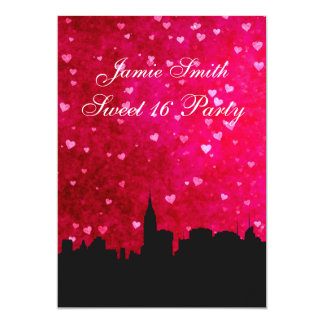 NYC Skyline Silhouette Hot Pink Red Hrt Sweet 16 V 5x7 Paper Invitation Card