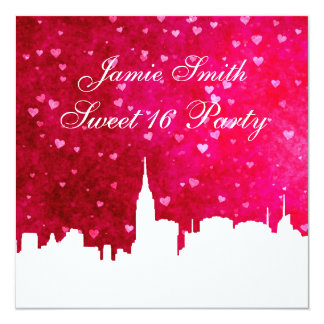 NYC Skyline Silhouette Ht Pink Red Heart Sweet 16 5.25x5.25 Square Paper Invitation Card