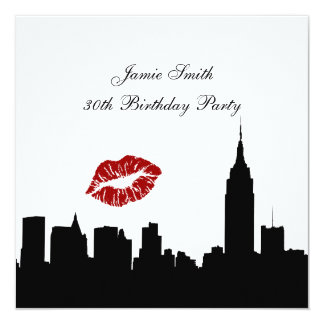 NYC Skyline Silhouette, Kiss ESB #1 BW Birthday SQ Card