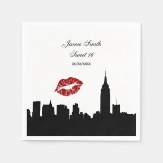 NYC Skyline Silhouette, Kiss ESB #1 BW Napkin