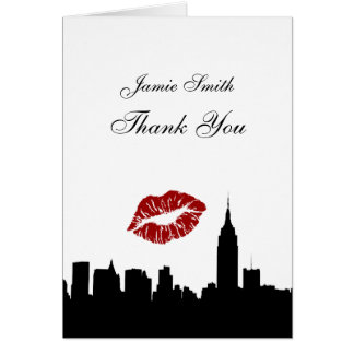 NYC Skyline Silhouette, Kiss ESB #1 BW Thank You Stationery Note Card