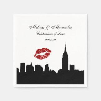 NYC Skyline Silhouette, Kiss ESB #1 BW Wedding Standard Cocktail Napkin