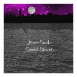 NYC Skyline Silhouette Moon Purpl Bridal Shower SQ Personalized Invite