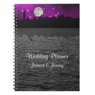 NYC Skyline Silhouette Moon Purpl Planner Notebook