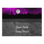 NYC Skyline Silhouette Moon Purple Baby Shower Announcements