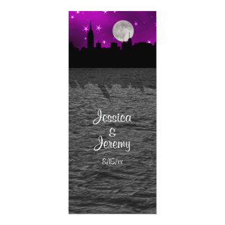 NYC Skyline Silhouette Moon Purple Menu Reception Card
