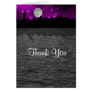NYC Skyline Silhouette Moon Purple Thank You Stationery Note Card