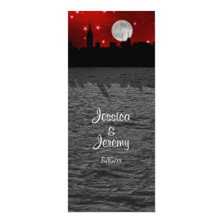 NYC Skyline Silhouette Moon Red Menu Reception 4x9.25 Paper Invitation Card