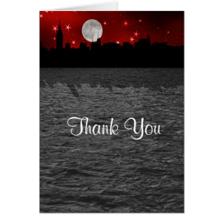 NYC Skyline Silhouette Moon Red Thank You Stationery Note Card