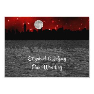 NYC Skyline Silhouette Moon Red Wedding Card