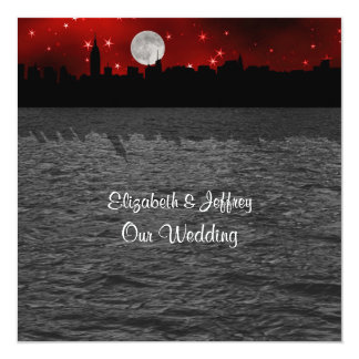 NYC Skyline Silhouette Moon Red Wedding SQ Card