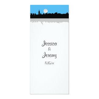 NYC Skyline Silhouette Moon Sky Blu Menu Reception 4x9.25 Paper Invitation Card