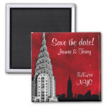 NYC Skyline Silhouette Red Star Save Date Magnet 2