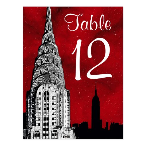 NYC Skyline Silhouette Red Starry Table Number Postcard