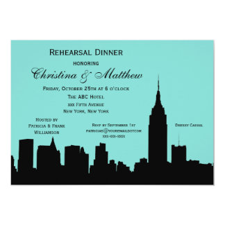 NYC Skyline Silhouette Rehearsal Dinner Card