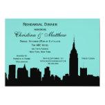 "NYC Skyline Silhouette Rehearsal Dinner 5"" X 7"" Invitation Card"