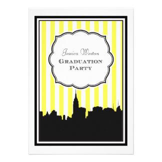 NYC Skyline Silhouette Stripe 1 DIY Graduation Personalized Invitations