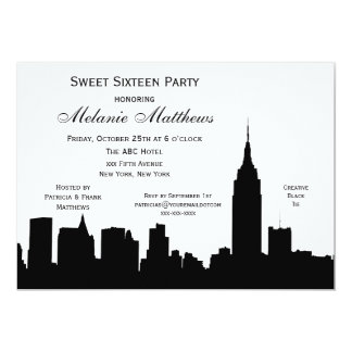 NYC Skyline Silhouette Sweet Sixteen Card