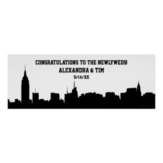 NYC Skyline Silhouette Wedding Party Banner Poster