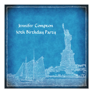 NYC Skyline St of Liberty Blue Wht Birthday Party Card