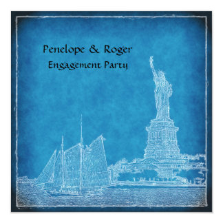 NYC Skyline St of Liberty Blue Wht Engagement Pty Card