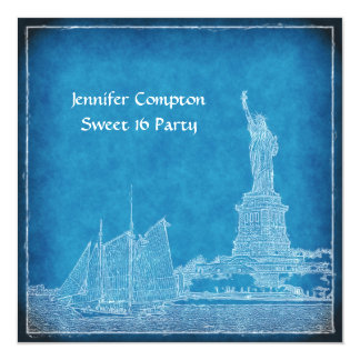 """NYC Skyline St of Liberty Sweet 16 Party Blue Wht 5.25"""" Square Invitation Card"""
