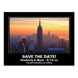 NYC Skyline Sunset ESB Save the Date Postcard