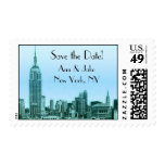 NYC Skyline Teal Etched 01 Save the Date Postage 2